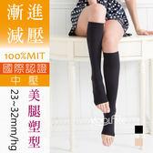 壓力襪│健康襪│漸進式壓力│超柔吸溼排汗│露趾彈性小腿襪 中壓 【康護你】