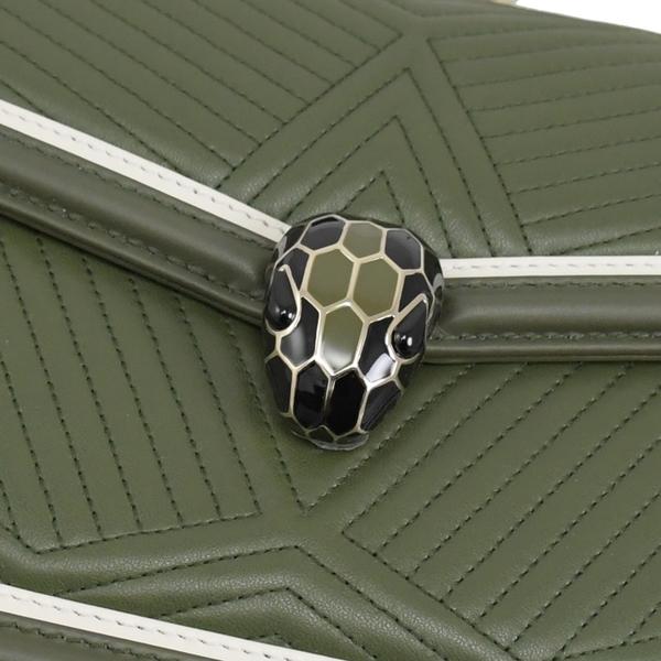 茱麗葉精品【全新現貨】BVLGARI 寶格麗 289731 車線小牛皮琺瑯蛇頭肩斜背鍊包.橄欖綠