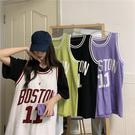 DE shop - 字母印花學生籃球服寬鬆休閒中長款無袖t恤 - PP- 446