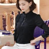 黑色立領蕾絲衫雪紡女襯衫2019秋裝新款韓版百搭顯瘦加絨打底衫潮叢林之家