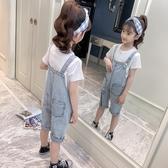 女童牛仔吊帶褲2020新款韓版兒童洋氣連體褲中大童休閒吊帶褲子潮 童趣