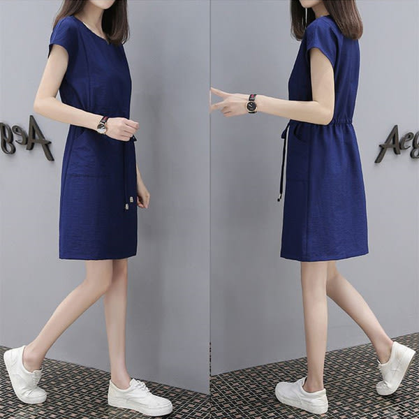 【GZ84】2018 新款 夏季 短袖 亞麻 棉麻 洋裝 腰圍有鬆緊