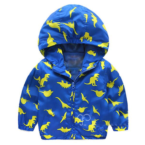 男Baby 男童防風薄外套藍色恐龍印花防風連帽外套現貨歐美品質