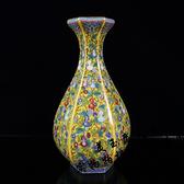 古玩收藏仿古瓷器花瓶 景德鎮陶瓷琺瑯彩六方花瓶博