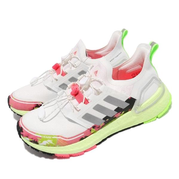 【海外限定】adidas 慢跑鞋 Ultraboost C.RDY 白 粉紅 螢光綠 愛迪達 女鞋 反光 【ACS】 FV6995