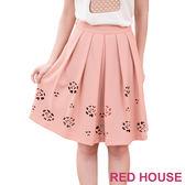 【RED HOUSE-蕾赫斯】燒花花朵及膝裙(粉橘色)