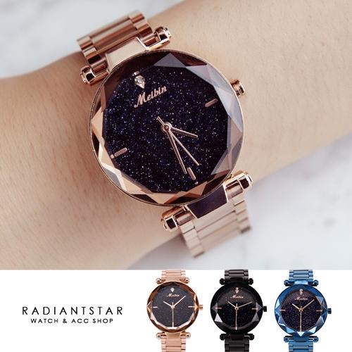 MEIBIN閃亮星之夜花玻璃切面金屬鍊帶手錶【WM1211M】璀璨之星☆