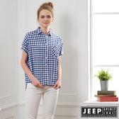 【JEEP】女裝 簡約休閒格紋短袖襯衫-藍