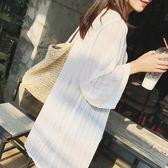 新款日韓女裝薄中長版雪紡防曬衣開衫外套柔美沙灘防曬衫【好康回饋◇85折】