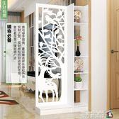 屏風隔斷客廳玄關櫃現代時尚行動門廳裝飾櫃鏤空雕花櫥窗背景 魔方igo