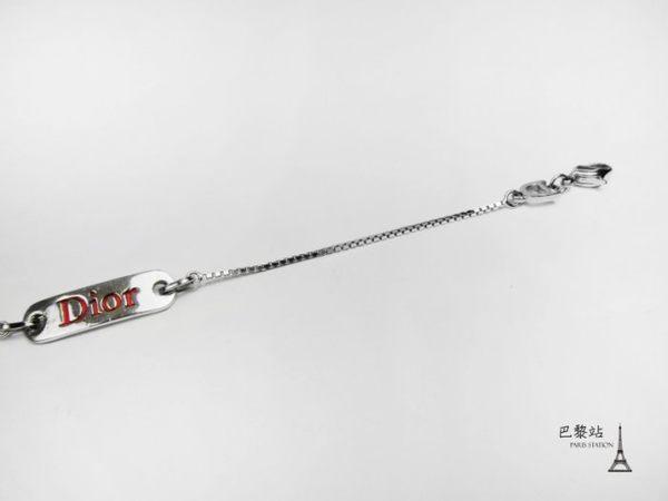 【巴黎站二手名牌專賣店】*現貨*Christian Dior 真品*D20272 紅色DIOR壓印 銀色手鍊