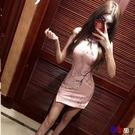 【貝貝】韓版時尚復古圓領鏤空修身改良式旗袍無袖連身裙