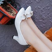 單鞋女百搭工作高跟鞋春秋粗跟中跟蝴蝶結漆皮黑白女士厚底皮鞋