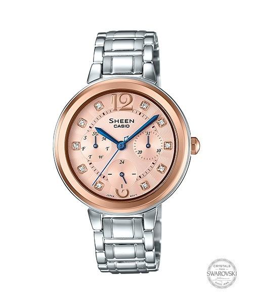 【時間道】[CASIO。SHEEN]三眼顯示施華洛世奇鑽刻時尚女錶-玫瑰金面框鋼帶(SHE-3048SG-7)免運費