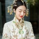 新娘頭飾 頭飾新娘飾品新款秀禾服發飾中式新娘古裝發飾金色手工配飾品 韓菲兒