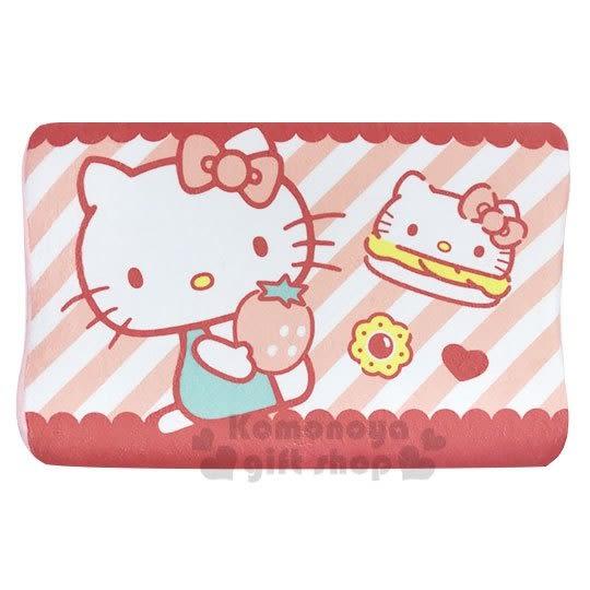〔小禮堂〕Hello Kitty 方形絨布記憶枕《粉橘.條紋草莓》午安枕.枕頭.乳膠枕 4983164-75570