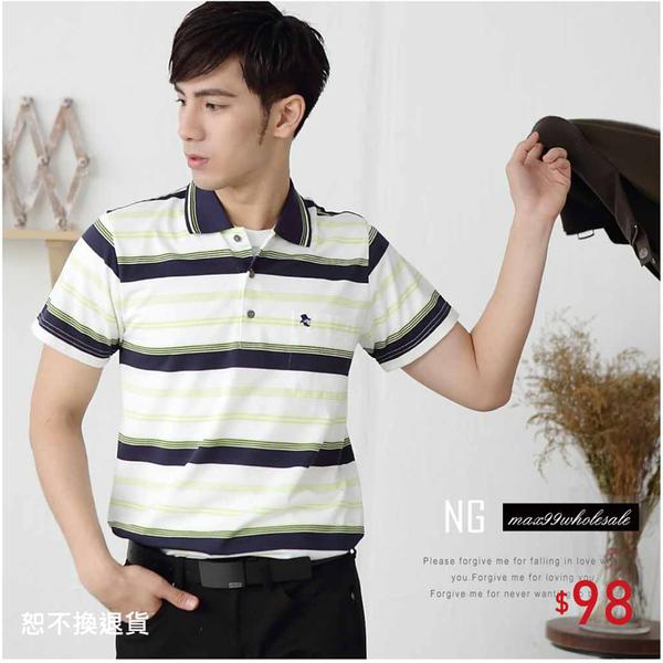 【大盤大】P65327 男 M號 短袖上衣 口袋工作服POLO衫 NG恕不退換 條紋保羅衫 特價休閒打底衫