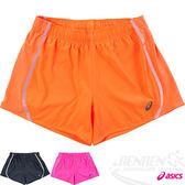 ASICS亞瑟士 LITE SHOW女慢跑褲(橘) 路跑短褲 可拆卸式裡褲運動短褲 反光素材