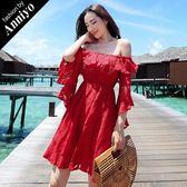 Anniyo安妞‧一字領七分袖飄逸水袖海邊度假波西米亞鏤空蕾絲沙灘裙連衣裙洋裝 紅色