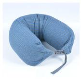 AOU 調整式U型枕 護頸枕 可拆洗 飛機搭機旅行枕(寶藍條紋)66-023D8