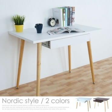 Homelike 哈曼北歐風附抽書桌(純白色)