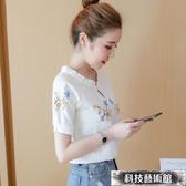 棉麻短袖T恤女新款韓版百搭雪紡上衣超仙甜美洋氣小衫潮