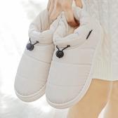 2019新款棉拖鞋女包跟室內居家防水羽絨布情侶月子保暖棉鞋男高筒