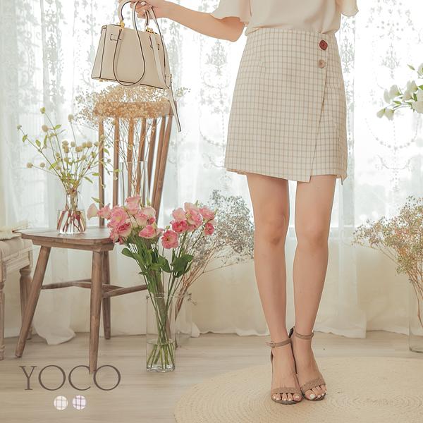 東京著衣【YOCO】甜美芭比不對稱下襬格紋A字裙-S.M.L(190652)