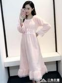 睡裙女冬甜美公主可愛韓版法蘭絨秋冬季珊瑚絨睡衣長款加厚家居服 三角衣櫃
