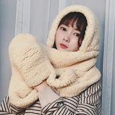 秋冬季韓版加厚加絨羊羔絨圍巾女帽子連帽三件一體毛絨 歐亞時尚
