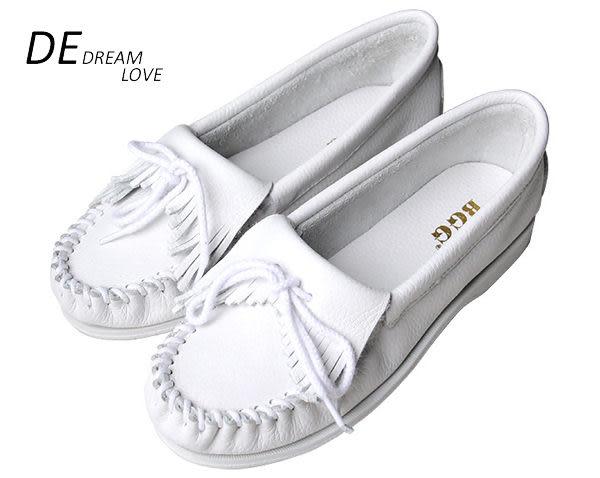 DE shop ~全真皮VIVI推 莫卡辛同款 手工流蘇小白鞋平底鞋 休閒鞋 帆船鞋 303