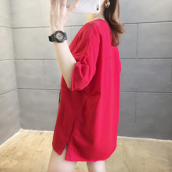 【YOUNGBABY中大碼】不修邊破破刺袖貼布小兔 T.紅/藍/白