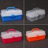 三層美術工具箱小學生兒童畫畫箱繪畫透明塑料小號大號家用收納箱
