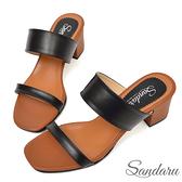 訂製鞋 簡約寬版粗跟拖鞋-黑咖