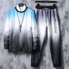 新款秋季套裝男漸變色衣服韓版寬鬆個性潮流男士長袖T恤長褲