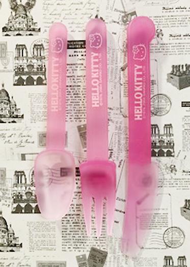 【震撼精品百貨】Hello Kitty 凱蒂貓~三麗鷗 kitty 日本美耐皿湯匙/筷子/刀子組-粉#97383