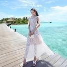波希米亞長裙-優雅氣質蕾絲無袖洋裝73s...
