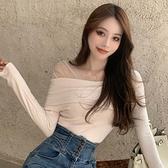 方領打底衫女內搭早春2021年新款修身設計感蕾絲洋氣上衣辣妹穿搭 韓國時尚週