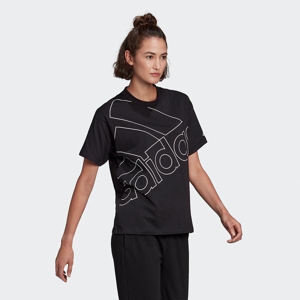 ADIDAS GIANT LOGO 女裝 短袖 T恤 休閒 寬鬆 純棉 黑【運動世界】GL0548