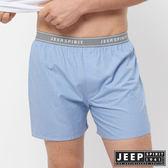 【JEEP】五片式剪裁 純棉平口褲(淺藍小格紋)