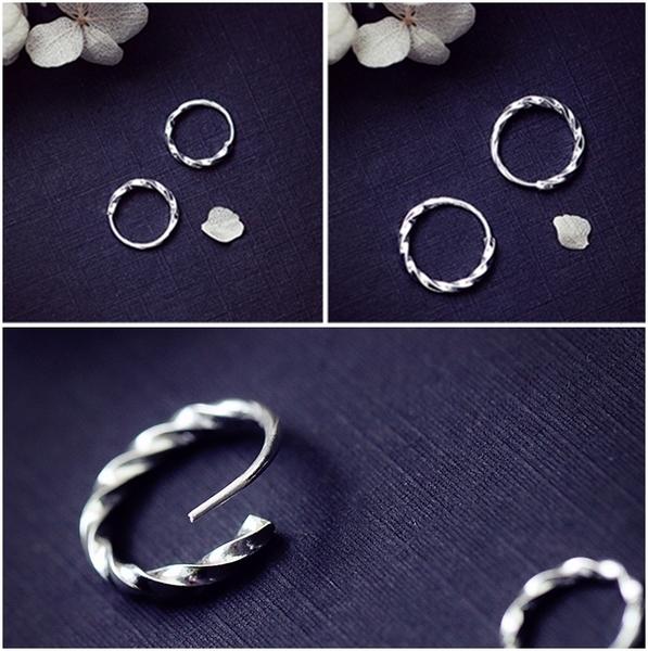 925純銀 麻花極細 小耳圈扣耳環-9mm、12mm 防抗過敏 單支販售