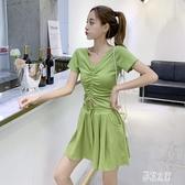 純色休閒套裝 女2019夏季韓版V領抽繩上衣 闊腿短褲兩件套潮 BT10735【彩虹之家】