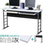 Homelike 查理140x40工作桌(加厚桌面-附二鍵盤架)桌面-白/桌腳-炫灰