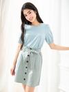 單一優惠價[H2O]附腰帶前開釦設計A字短裙 - 黑/粉/淺綠色 #0672008