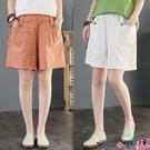熱賣棉麻五分褲 2021夏季新款文藝大碼寬鬆休閒棉麻五分褲高腰顯瘦亞麻闊腿短褲女 coco