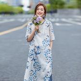 亞麻襯衫裙 印花短袖連身裙 圓領直筒洋裝-夢想家-0708
