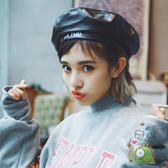 韓國帽子女冬天休閒百搭pu皮帽正韓男女皮質鴨舌帽八角帽月光節