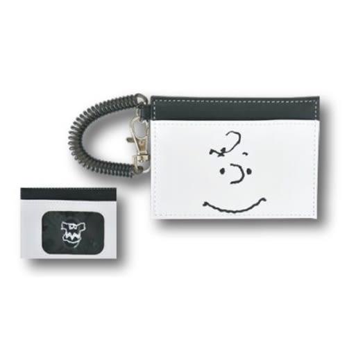 SNOOPY黑白系列PU皮革票卡夾附電話線圈式伸縮拉繩(查理布朗大臉白)★funbox★Marimo_FT66368