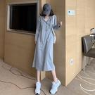 2021秋冬新款維多利亞法式復古桔梗長裙連衣裙很仙氣質衛衣裙 pinkq時尚女裝