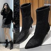大碼短靴 女鞋41一43腳寬秋季新款女高跟鞋絨面單靴短筒靴子 - 古梵希